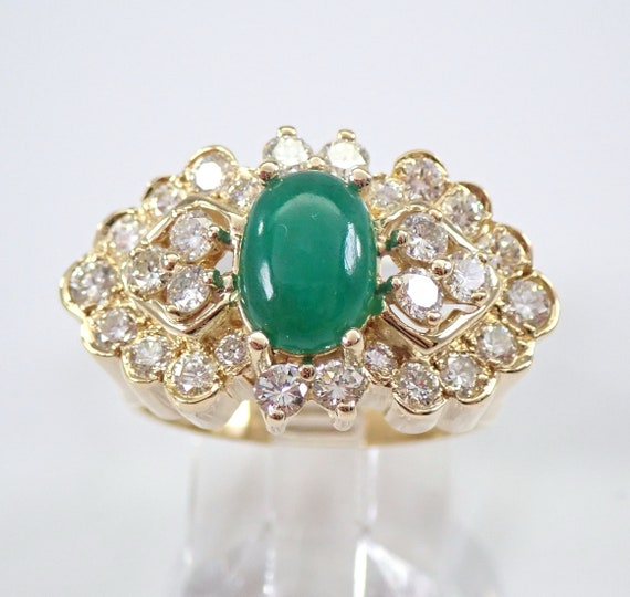 Vintage Estate 18K Yellow Gold Jade and Diamond Cluster Ring Size 6.25 Rare Color Jade Fine Jewelry FREE Sizing