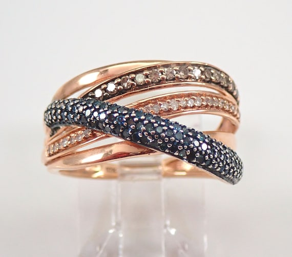 Fancy Blue Cognac and White Diamond Multi Row Ring Crossover Band Rose Gold Size 6.25 FREE Sizing