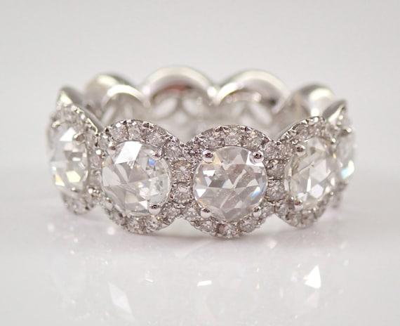 18K White Gold 3.08 ct Diamond Halo Eternity Wedding Ring Anniversary Band Size 6.25