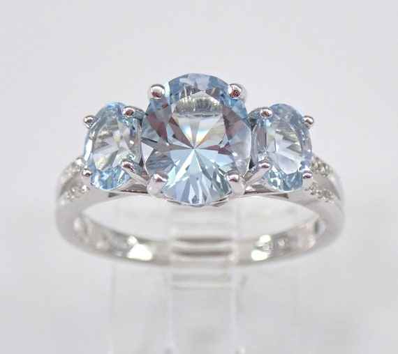 Three Stone Diamond and Aquamarine Engagement Ring Aqua Band 14K White Gold Size 7 March Gemstone