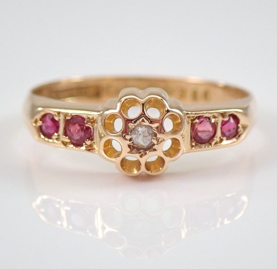 Antique Victorian Diamond and Ruby Flower Ring 18K Yellow Gold Circa 1890's