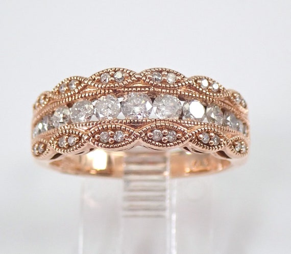 14K Rose Gold Diamond Anniversary Band Wedding Ring Size 7 Stackable Design