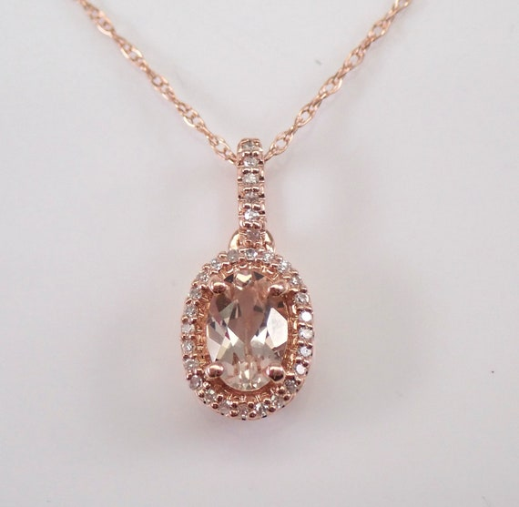 "Diamond and Morganite Halo Drop Pendant Necklace 18"" Chain Rose Gold Wedding Gift"