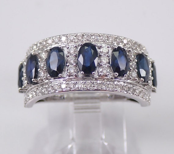 3.20 ct Diamond and Sapphire Wedding Ring Anniversary Band 14K White Gold Size 7 Stackable September Birthstone