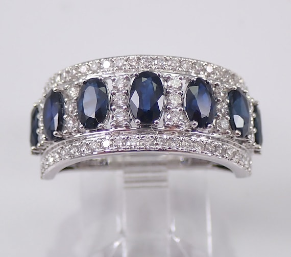3.20 ct Diamond and Sapphire Wedding Ring Anniversary Band 14K White Gold Size 7 Stackable September Birthstone FREE Sizing