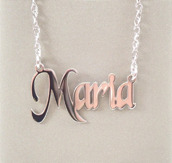"14K White Yellow Rose Pink Gold Block Name Nameplate  Necklace 16"" or 18"" Chain Personalized"