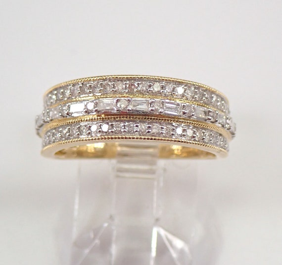 Round and Baguette Diamond Wedding Ring Anniversary Band Yellow Gold Size 7 FREE Sizing