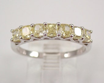 14K White Gold 7-Stone Canary Cushion Cut Diamond Wedding Ring Anniversary Band Size 7