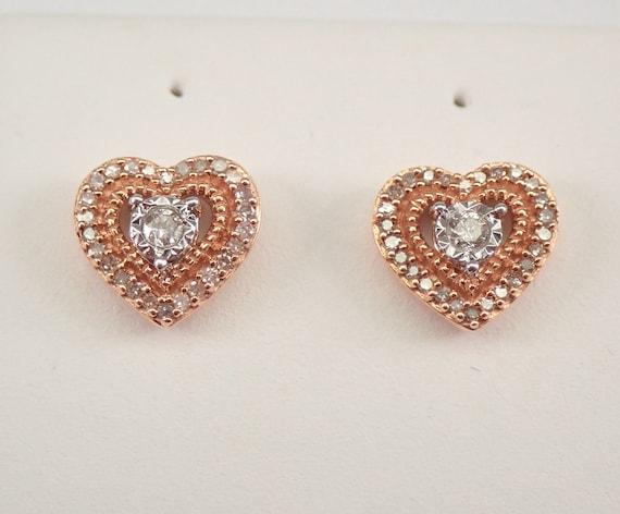 Rose Gold Diamond Heart Stud Earrings Halo Cluster Studs Wedding Gift
