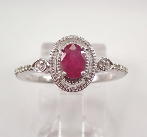 Oval Ruby and Diamond Engagement Ring White Gold Size 7 FREE Sizing