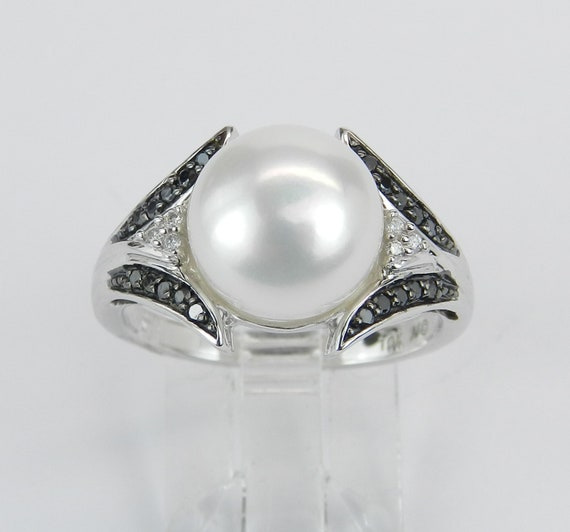 Pearl and Black Diamond Engagement Ring White Gold June Birthday Size 7