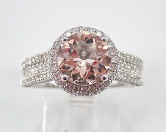 Morganite and Diamond Halo Engagement Ring 14K White Gold Size 7 FREE Sizing