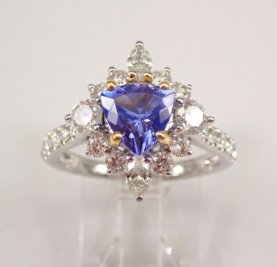 18K White Gold 3.39 ct Diamond and Trillion Tanzanite Halo Engagement Ring Size 7 December Birthstone