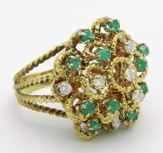 Emerald and Diamond Ring Estate Vintage Ring 14K Yellow Gold Cluster Ring Size 6.25