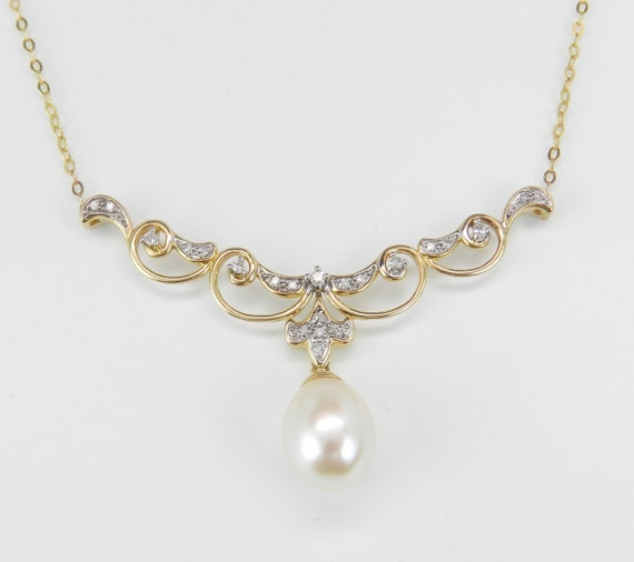 Pearl and Diamond Necklace set in 14K Yellow Gold Wedding Pendant Necklace Chain 18""