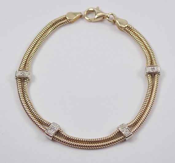14K Yellow and White Gold Double Strand Diamond Station Bracelet Snake Chain