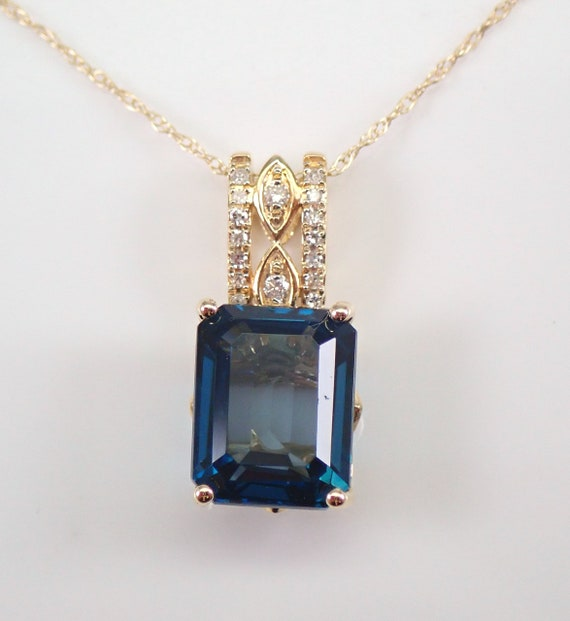 """Yellow Gold 2.70 ct London Blue Topaz and Diamond Pendant Necklace 18"""" Chain"""