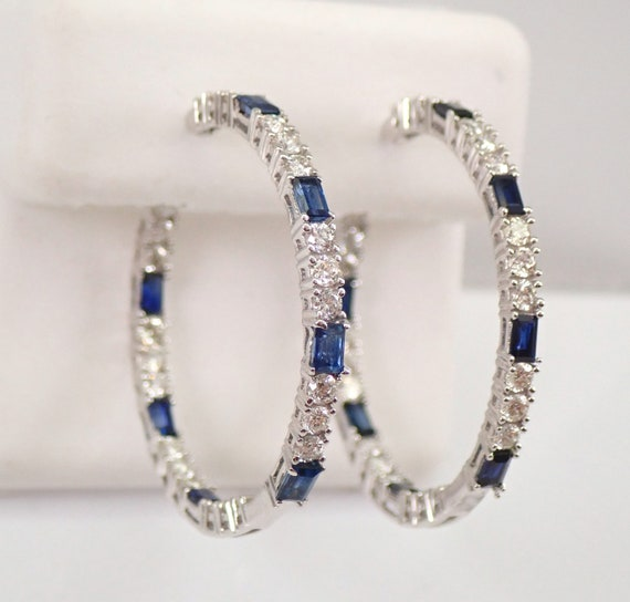 18K White Gold 2.69 ct Diamond and Sapphire Inside and Out Hoop Earrings Hoops