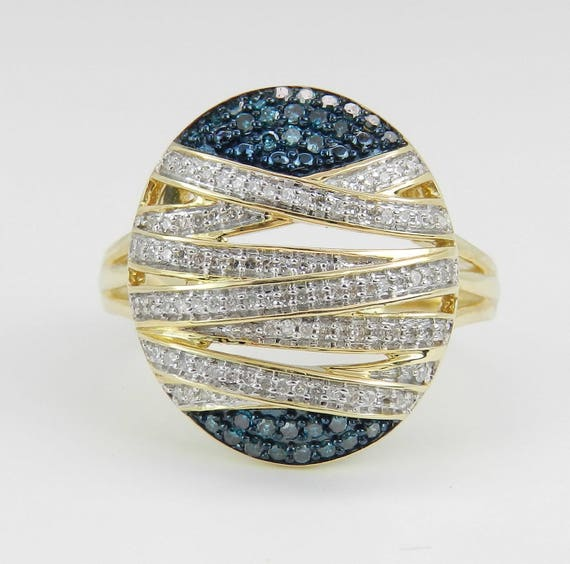 Blue and White Diamond Ring, Blue Diamond Cluster Ring, Oval Diamond Cocktail Ring, Yellow Gold Diamond Ring, Size 7 FREE Sizing