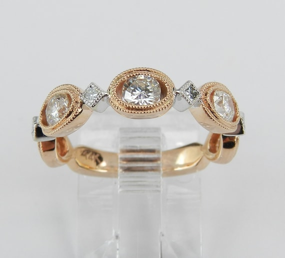14K Rose Pink Gold Diamond Wedding Ring Stackable Anniversary Band Size 6