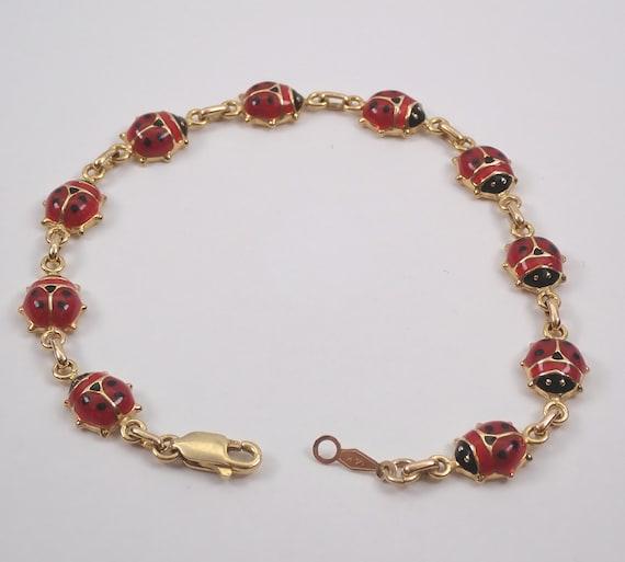 Vintage Estate 14K Yellow Gold Enamel LADYBUG Bracelet Red Beetle