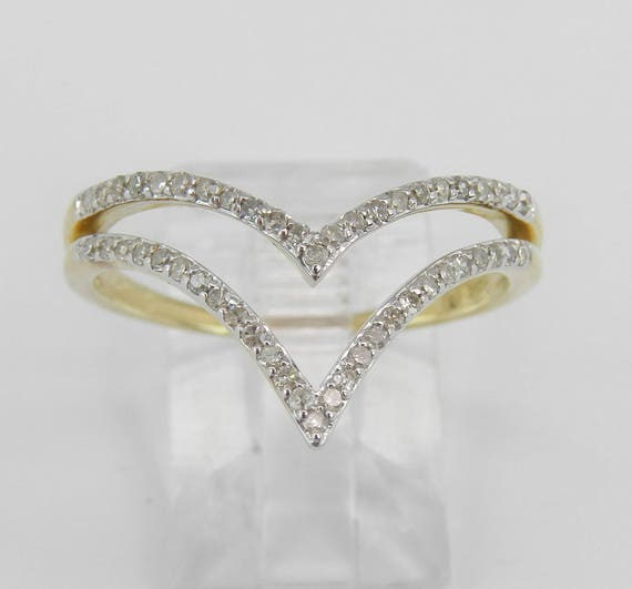 Modern Diamond V Cocktail Ring Yellow Gold Fashion Ring Size 9.25