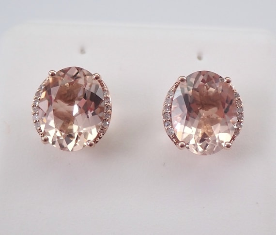 2.12 ct Morganite and Diamond  Stud Earrings Pink Aqua Rose Gold Studs