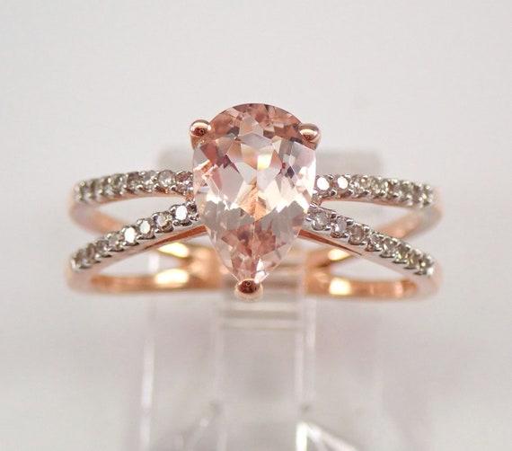 Rose Gold Pear Morganite and Diamond Engagement Ring Size 7.25 Split Shank FREE Sizing
