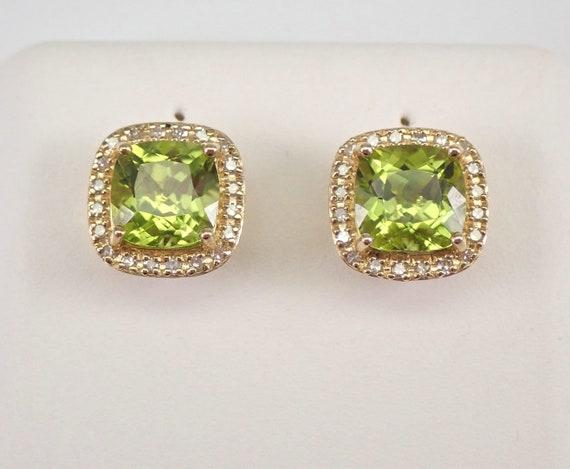 Cushion Cut Peridot and Diamond Stud Earrings Halo Studs Yellow Gold August Birthstone