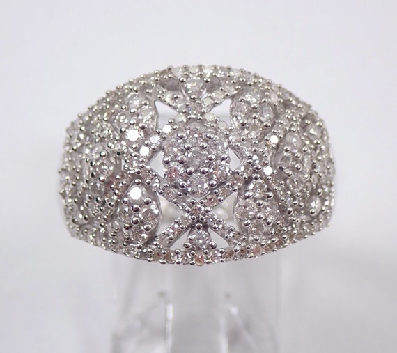 14K White Gold 1.00 ct Diamond Anniversary Ring Wide Cluster Cocktail Band Size 7