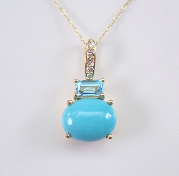 "Turquoise Blue Topaz and Diamond Pendant Yellow Gold Necklace 18"" Chain"