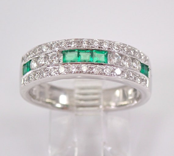 18K White Gold Diamond and Emerald Anniversary Band Wedding Ring Size 7 May Gemstone FREE Sizing