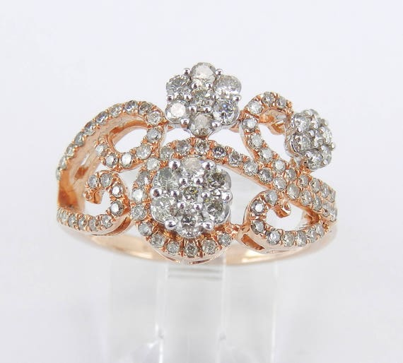 Rose and White Gold Diamond Flower Cluster Cocktail Ring Right Hand Band Size 7