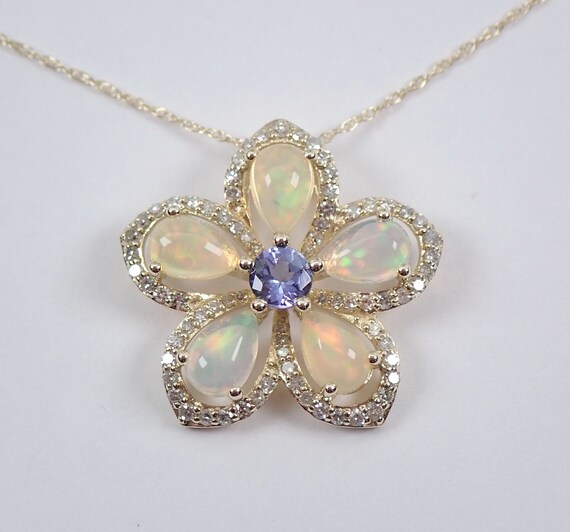 """Opal Tanzanite and Diamond Flower Cluster Pendant Necklace Yellow Gold 18"""" Chain October Gemstone"""