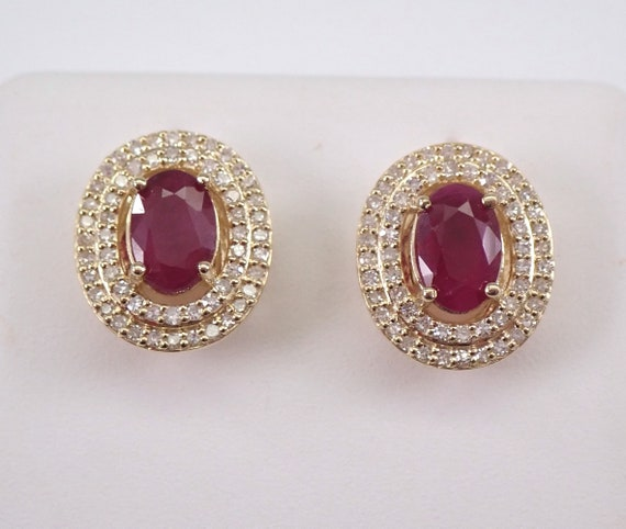 1.30 ct Ruby and Diamond Stud Earrings Double Halo Studs Yellow Gold July Birthstone