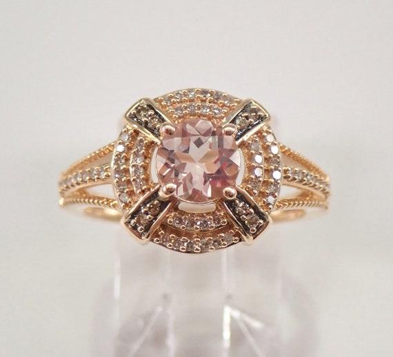 Morganite and Diamond Halo Engagement Ring Cognac Diamonds 14K Rose Gold Size 7