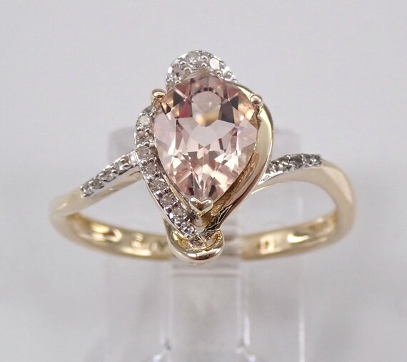 Pear Morganite and Diamond Engagement Ring 14K Yellow Gold Gold Size 7
