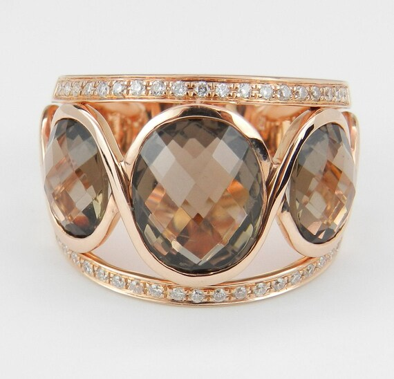 6.40ct Diamond and Smokey Topaz Ring, Three Stone Band, 14K Rose Anniversary Gold, Unique Pink Gold Ring, Size 6