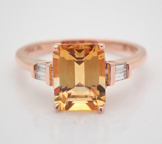 Emerald-Cut Citrine and Diamond Engagement Ring 14K Rose Gold Size 7 November Gemstone FREE Sizing