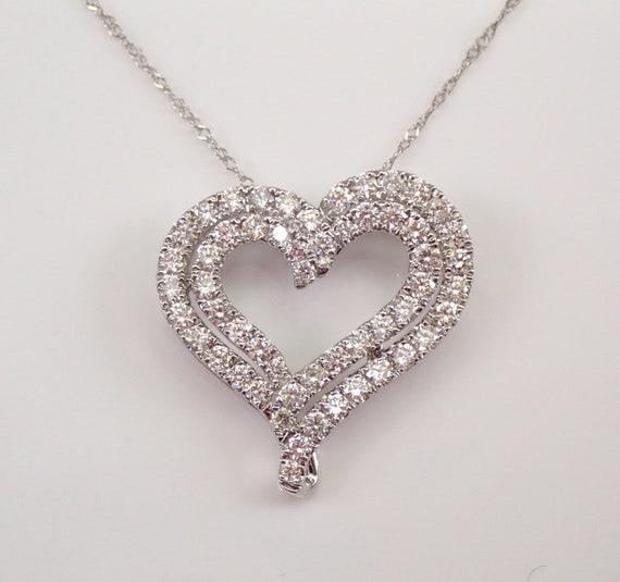 "14K White Gold 1.00 ct Diamond Pendant Open Double Heart Necklace 18"" Chain"