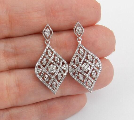 Diamond Earrings 14K White Gold Chandelier Dangle Drop Wedding Earrings Great Gift