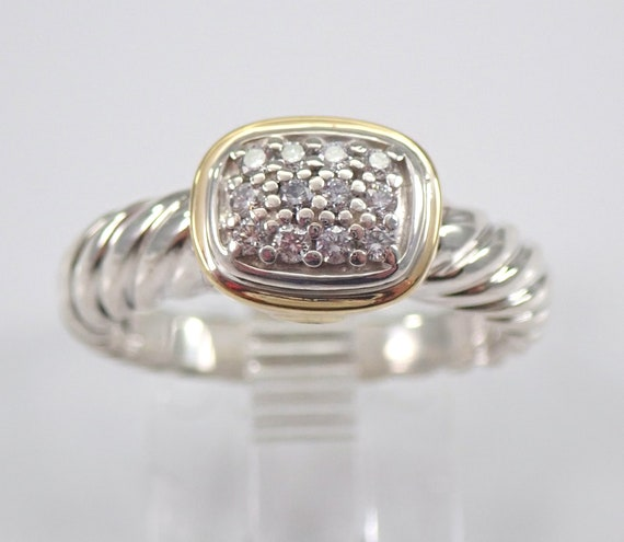 Authentic David Yurman Noblesse DIAMOND 18K Yellow Gold and Silver Cluster Ring Size 5 3/4
