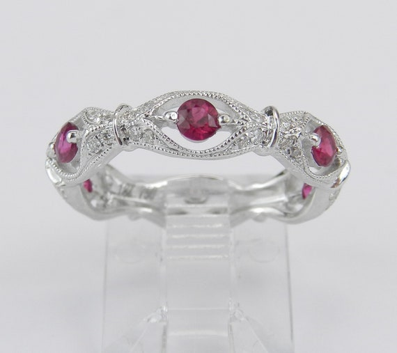 18K White Gold Ruby and Diamond Wedding Ring Anniversary Eternity Band Size 6 Stackable July Birthstone FREE Sizing