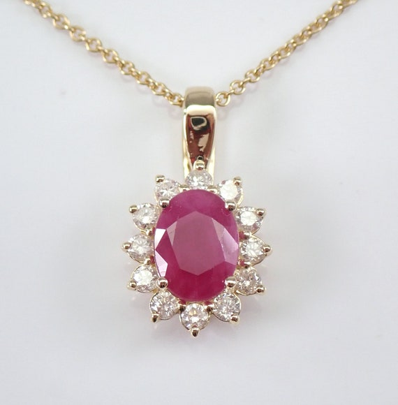 "Diamond and Ruby Halo Pendant Necklace Yellow Gold 18"" Chain July Birthstone"