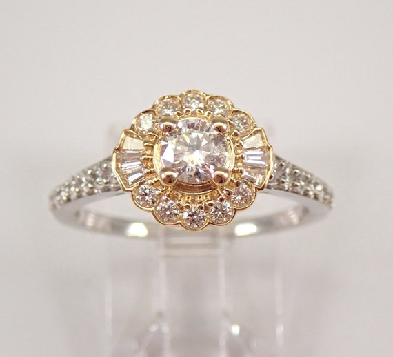 14K White and Yellow Gold Diamond Flower Halo Engagement Ring Size 7 FREE SIZING