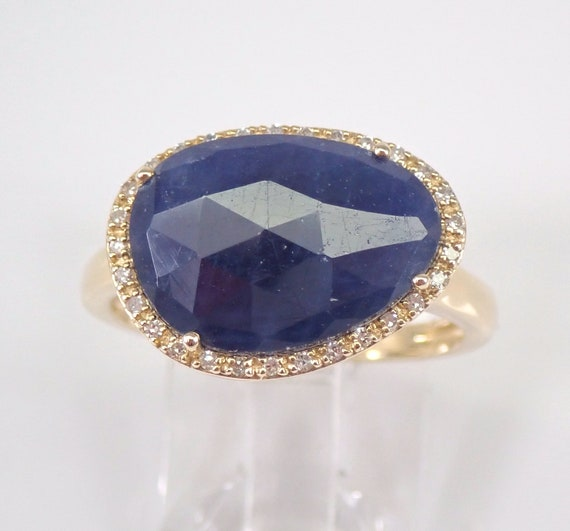 Yellow Gold 2.25 ct Diamond and Sapphire Slice Engagement Ring Size 7 September Gemstone Birthstone FREE Sizing