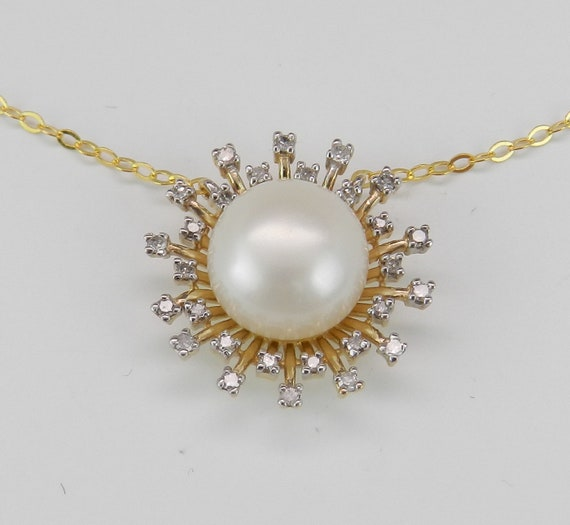 14K Yellow Gold Pearl and Diamond Sun Necklace Wedding Pendant Gift Chain 17""