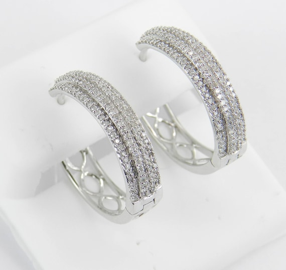 White Gold .70 ct Diamond Hoop Earrings Diamond Hoops Huggies Gift Modern Design