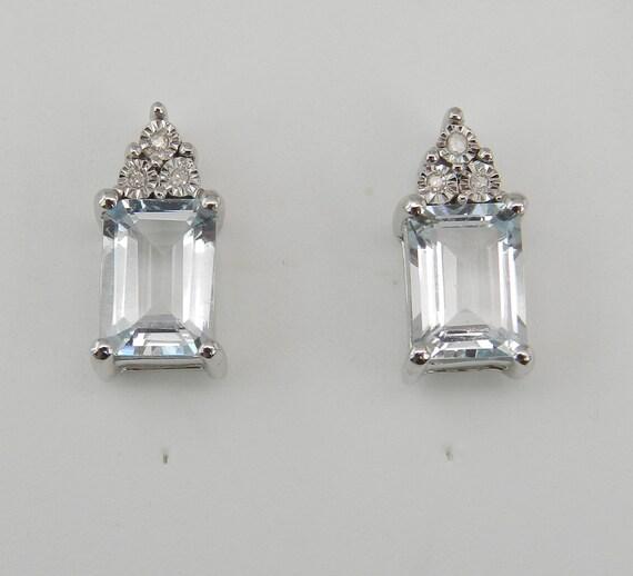White Gold Emerald Cut Aquamarine and Diamond Stud Earrings Aqua Studs March Birtstone