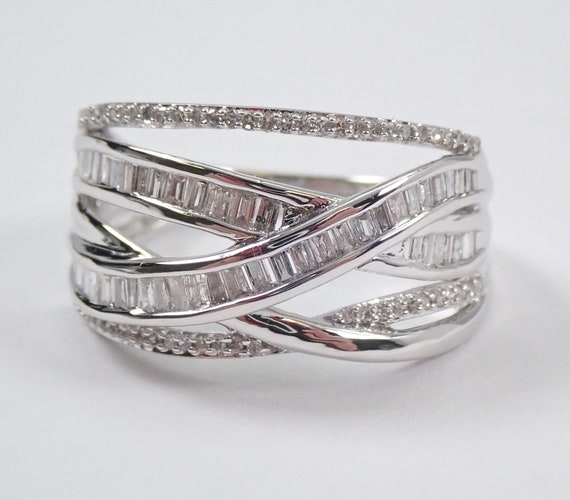 Diamond Wedding Ring Anniversary Band Crossover Ring White Gold Size 7